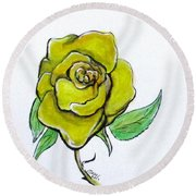 Yellow-green Rose Round Beach Towel