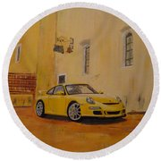 Yellow Gt3 Porsche Round Beach Towel