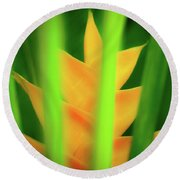 Yellow Heliconia - Tropical Hawaii - 957 Round Beach Towel