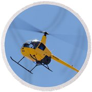 Yellow Helicopter Round Beach Towel