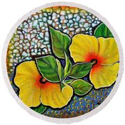 Yellow Hibiscus A Decorative Painting With Mosaic Style On Sale Round Beach Towel