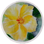 Yellow Hibiscus Round Beach Towel by Jamie Frier