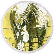 Yellow Horse Round Beach Towel