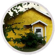 Yellow House In Shantytown  Round Beach Towel