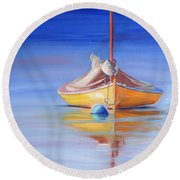 Yellow Hull Sailboat Iv Round Beach Towel