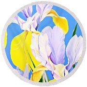 Yellow Irises-posthumously Presented Paintings Of Sachi Spohn  Round Beach Towel