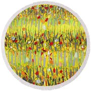 Yellow Jazz Round Beach Towel