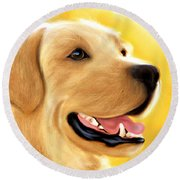 Yellow Lab Portrait Round Beach Towel