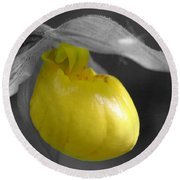 Yellow Lady Slipper Partial Round Beach Towel