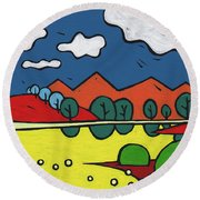 Round Beach Towel featuring the painting Yellow Lake by SpiritPainter