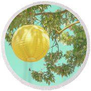 Round Beach Towel featuring the photograph Yellow Lantern by Cindy Garber Iverson