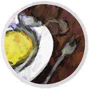 Yellow Lemon In A White Bowl With A Fork And A Wine Glass Round Beach Towel