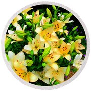Round Beach Towel featuring the photograph Yellow Lilies 2 by Randall Weidner