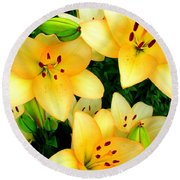 Yellow Lilies 3 Round Beach Towel by Randall Weidner