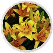 Round Beach Towel featuring the photograph Yellow Lilies by Joann Copeland-Paul