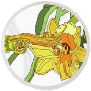 Yellow Lily And Bud, Graphic Round Beach Towel
