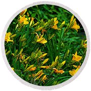 Round Beach Towel featuring the photograph Yellow Lily Flowers by Susanne Van Hulst