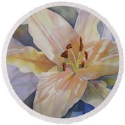 Yellow Lily Round Beach Towel by Teresa Beyer