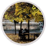 Round Beach Towel featuring the photograph Yellow Lunch by Ana Mireles