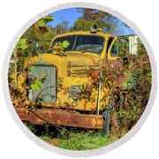 Yellow Mack Truck Round Beach Towel