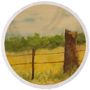 Round Beach Towel featuring the painting Yellow Meadow  by Vicki  Housel
