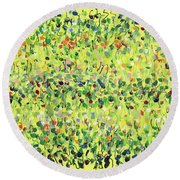 Yellow Mirage Round Beach Towel by Lynne Taetzsch