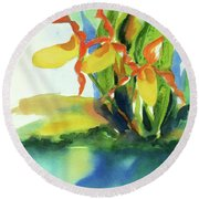 Round Beach Towel featuring the painting Yellow Moccasin Flowers by Kathy Braud