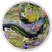 Yellow Moon Abstract Round Beach Towel