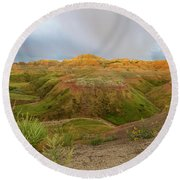 Yellow Mounds Morning Round Beach Towel