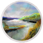 Round Beach Towel featuring the painting Yellow Mountain by Frances Marino
