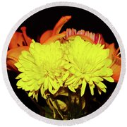 Yellow Mums And Orange Lilies  Round Beach Towel