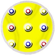 Yellow Nine Squared Round Beach Towel