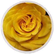 Yellow Ochre Rose Round Beach Towel