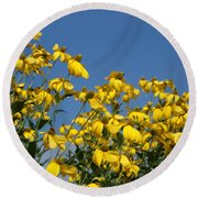 Yellow On Blue Round Beach Towel