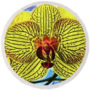 Round Beach Towel featuring the digital art Yellow Orchid Bloom In Fauvism by Kirt Tisdale