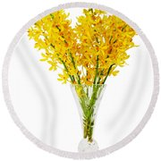 Yellow Orchid In Crystal Vase Round Beach Towel by Atiketta Sangasaeng