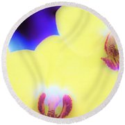 Yellow Orchid Round Beach Towel
