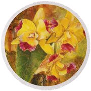 Yellow Orchids Acrylic Round Beach Towel