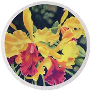 Yellow Orchids Round Beach Towel