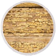Yellow Painted Aged Wood Round Beach Towel by John Williams