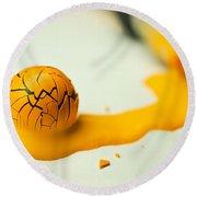 Yellow Painted Ball Round Beach Towel