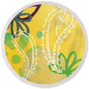 Yellow Paisley Garden Round Beach Towel