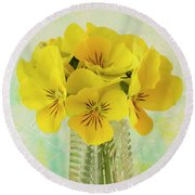 Yellow Pansies In Vase  Round Beach Towel by Sandra Foster