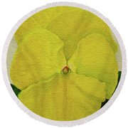 Yellow Pansy Round Beach Towel by Wendy Shoults