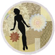 Yellow Paper Doll Round Beach Towel