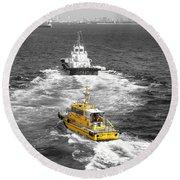 Yellow Pilot Yokohama Port Round Beach Towel by Susan Lafleur