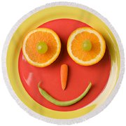 Yellow Plate With Food Face Round Beach Towel