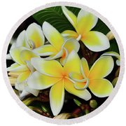 Round Beach Towel featuring the photograph Yellow Plumeria By Kaye Menner by Kaye Menner
