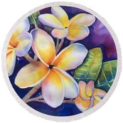 Yellow Plumeria Flowers Round Beach Towel