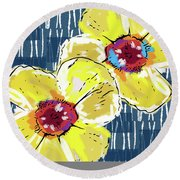 Yellow Poppies 2- Art By Linda Woods Round Beach Towel by Linda Woods